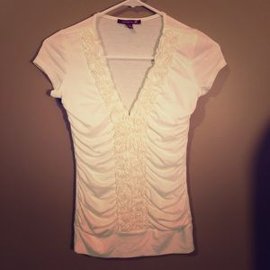 Silver gate White Ruffle Front Top Small